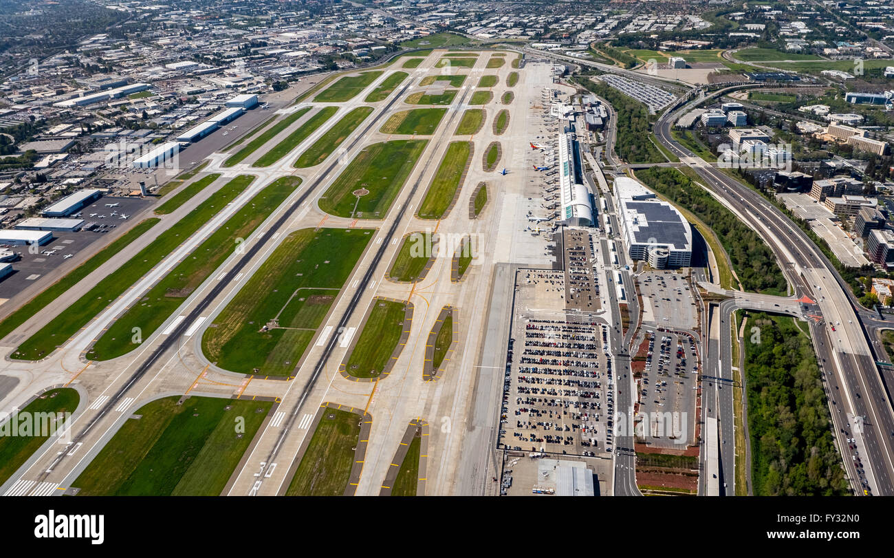 Aerial view, San Jose International Airport, runways, San José Province, San Francisco Bay Area, California, - Stock Image