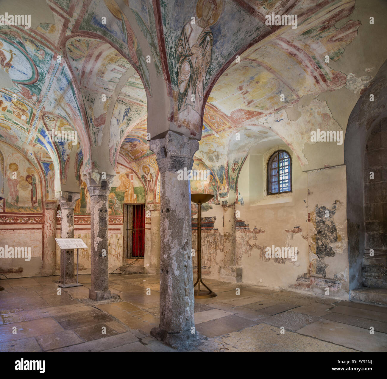 Maxentine crypt, 9th century., under the high altar of the Roman basilica, famous frescos from the 12th century, - Stock Image