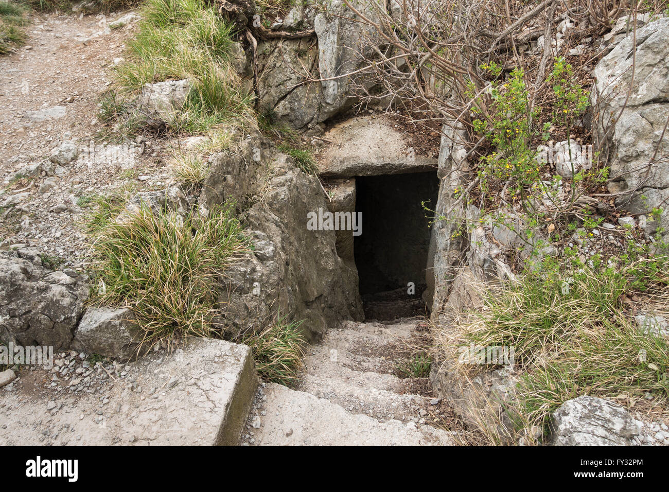 Military post on the cliff at Duino, First and Second World War, the Rilke path, Duino-Aurisina, Province of Trieste - Stock Image