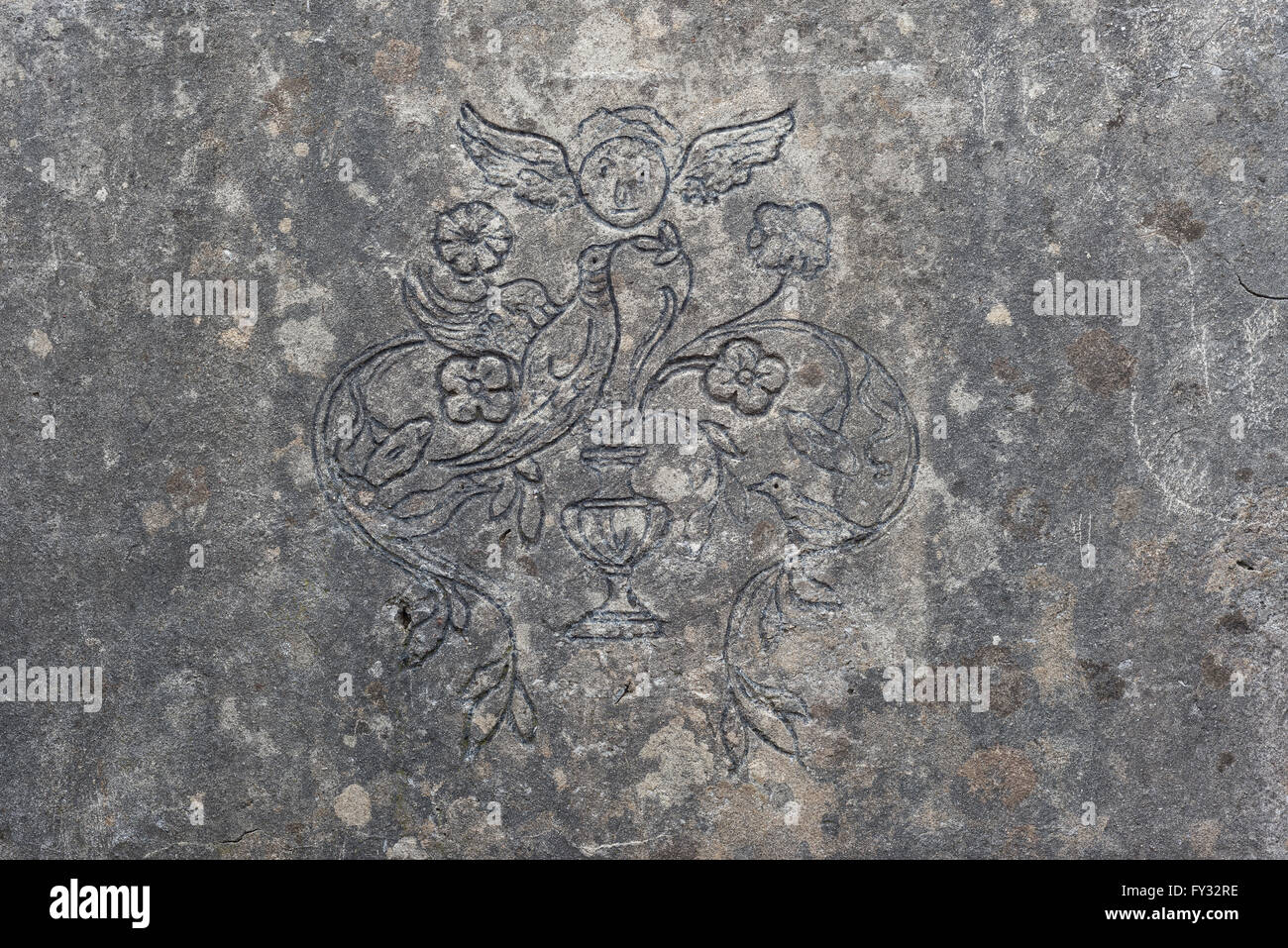 Relief carved in concrete, trenches on Monte San Michele, military post from World War I, Isonzo battles, Province - Stock Image
