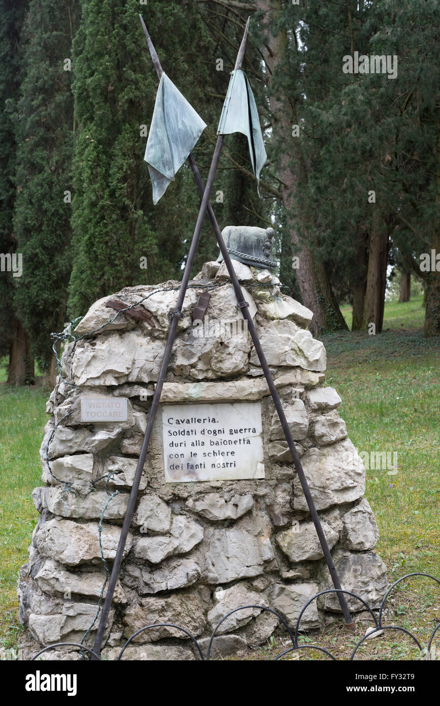 Symbolic grave stone for the cavalry, Park of Remembrance, Open Air Museum World War I on the Colle Sant'Elia - Stock Image