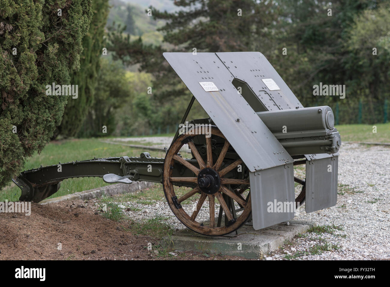Howitzer 75-13, Park of Remembrance, Open Air Museum World War I on the Colle Sant'Elia hill, Isonzo, Redipuglia, - Stock Image