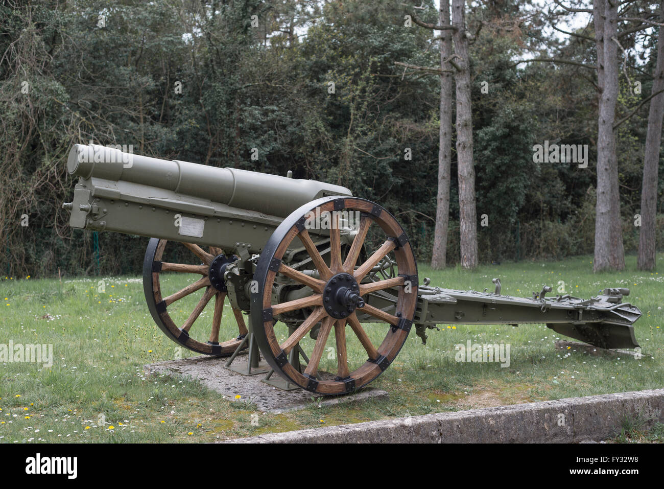 Howitzer 149-12, Park of Remembrance, Open Air Museum World War I on the Colle Sant'Elia hill, Isonzo, Redipuglia, - Stock Image