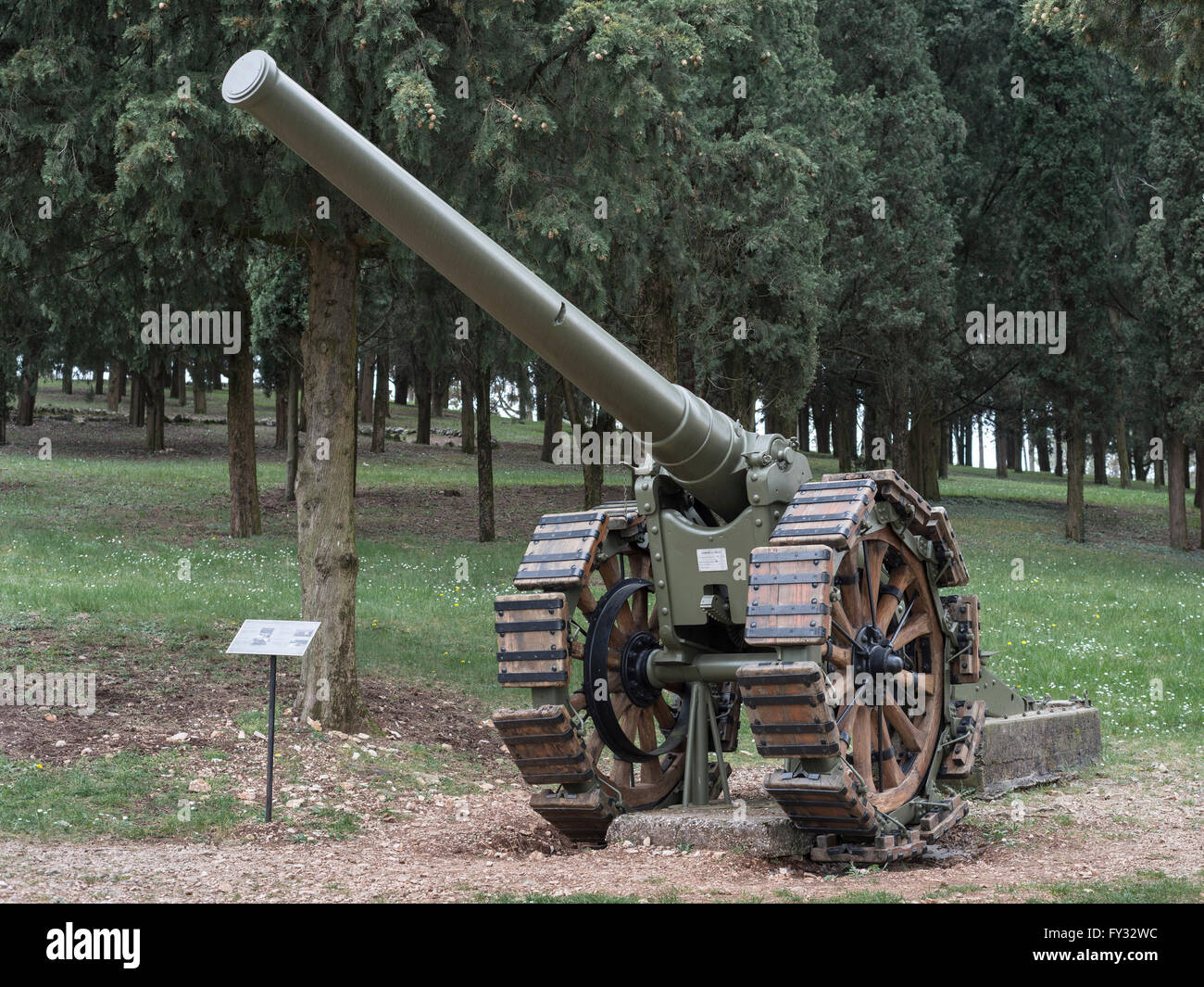 Cannon 149-35, Park of Remembrance, Open Air Museum World War I on the Colle Sant'Elia hill, Isonzo, Redipuglia, - Stock Image
