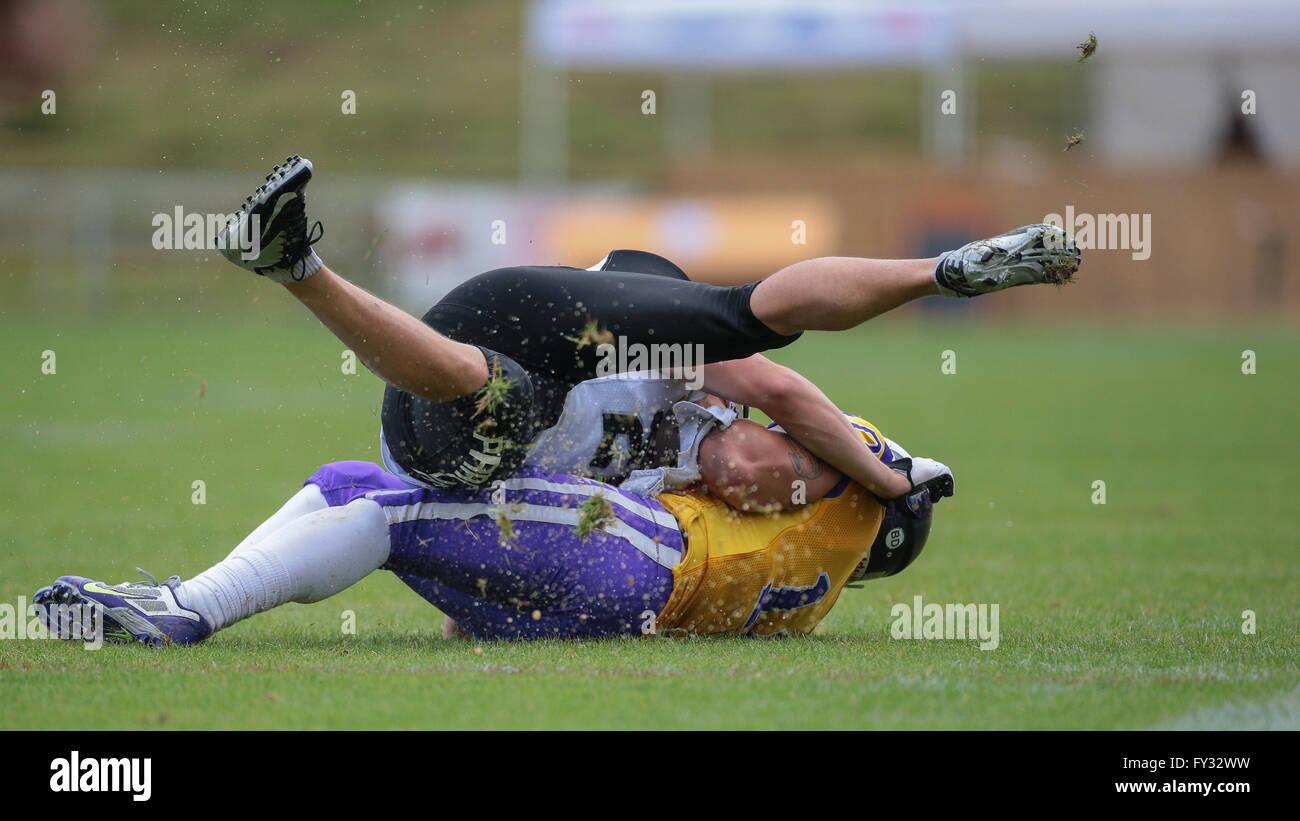 TE Manuel Thaller, No. 11 Vikings, tackles WR Jakub Wolesky, No. 2 Panthers, during an Austrian Football League - Stock Image