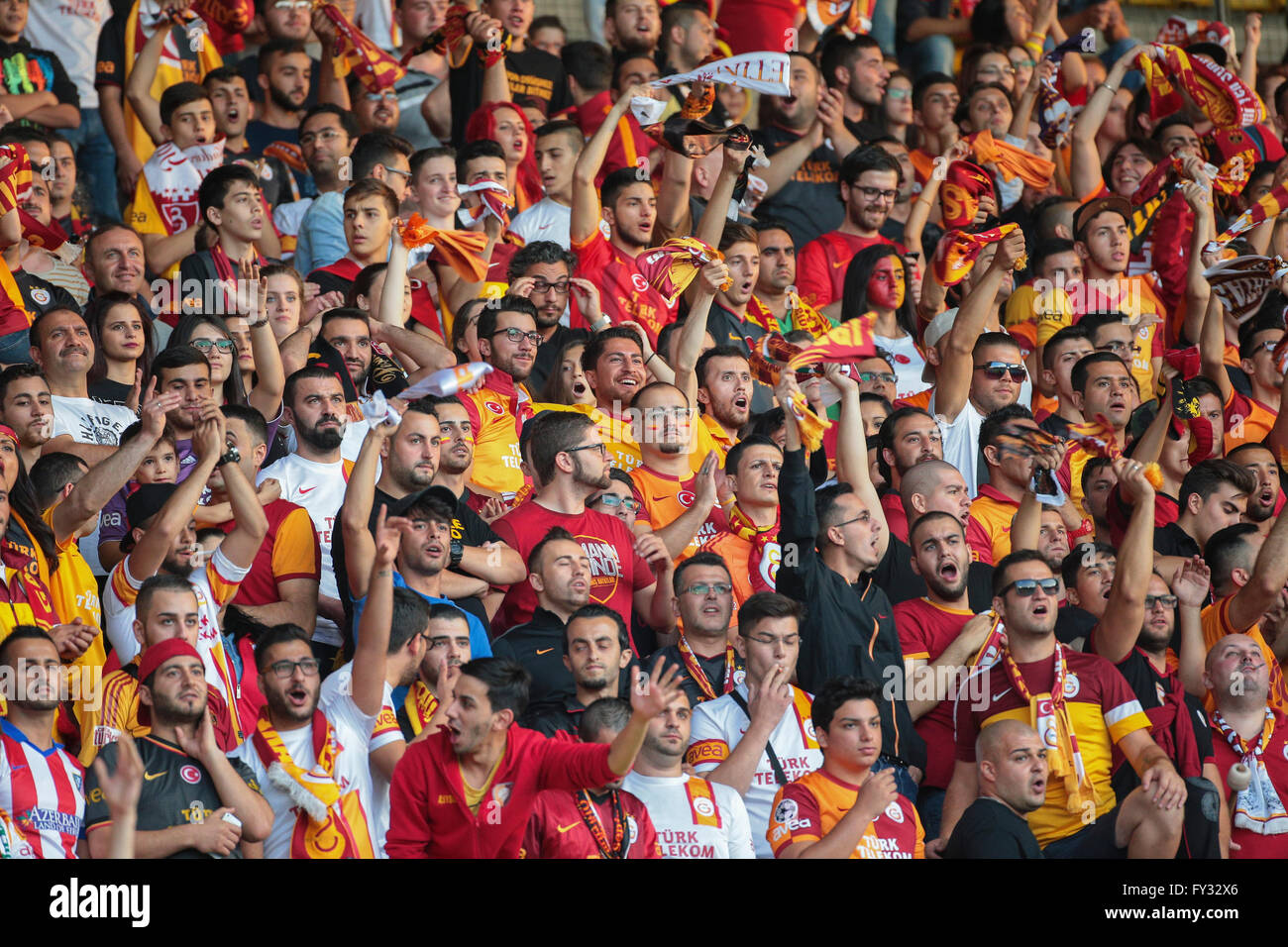 Fans of Galatasaray Istanbul cheer on their team during a friendly game against SK Rapid Vienna, Ernst-Happel-Stadium, - Stock Image