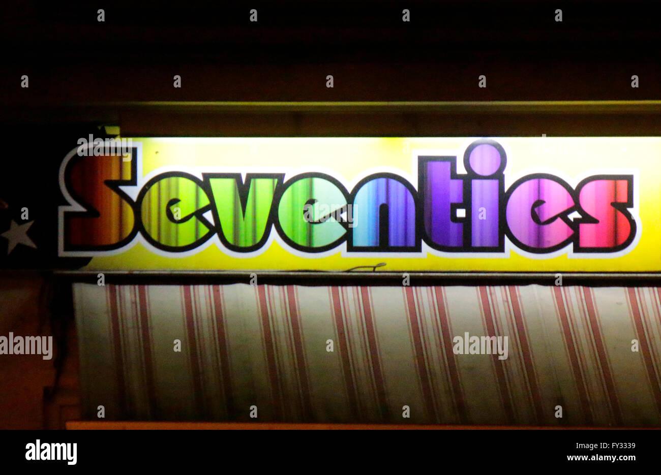Markennamen: 'Seventies', Berlin. - Stock Image
