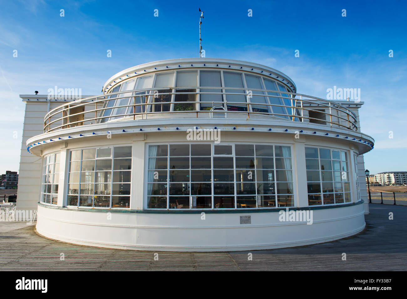 The 1930s Art Deco style Southern Pavilion on Worthing Pier, Worthing, West Sussex, UK - Stock Image