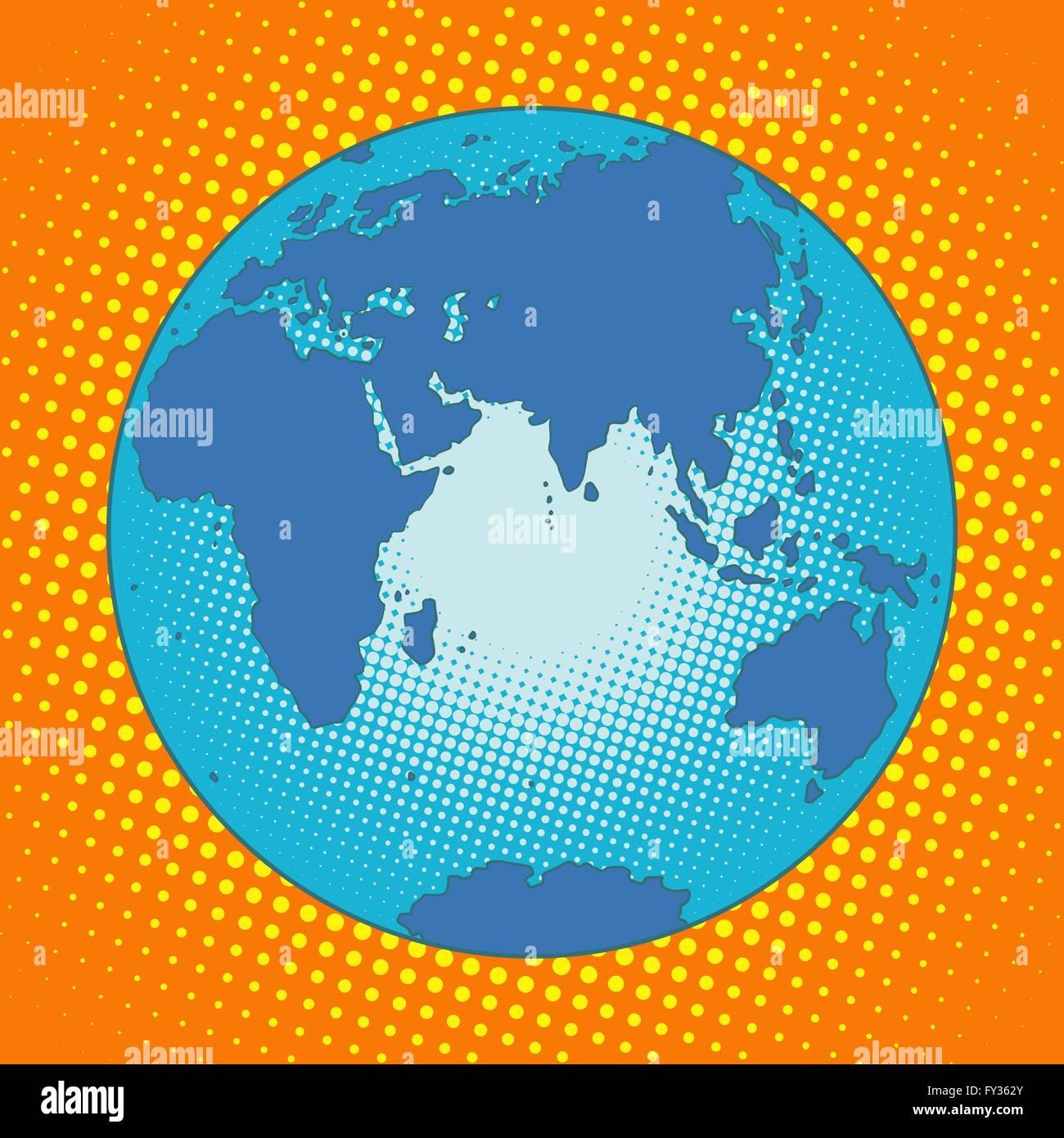 Earth Eurasia Africa Australia Antarctica Asia Europe - Stock Image
