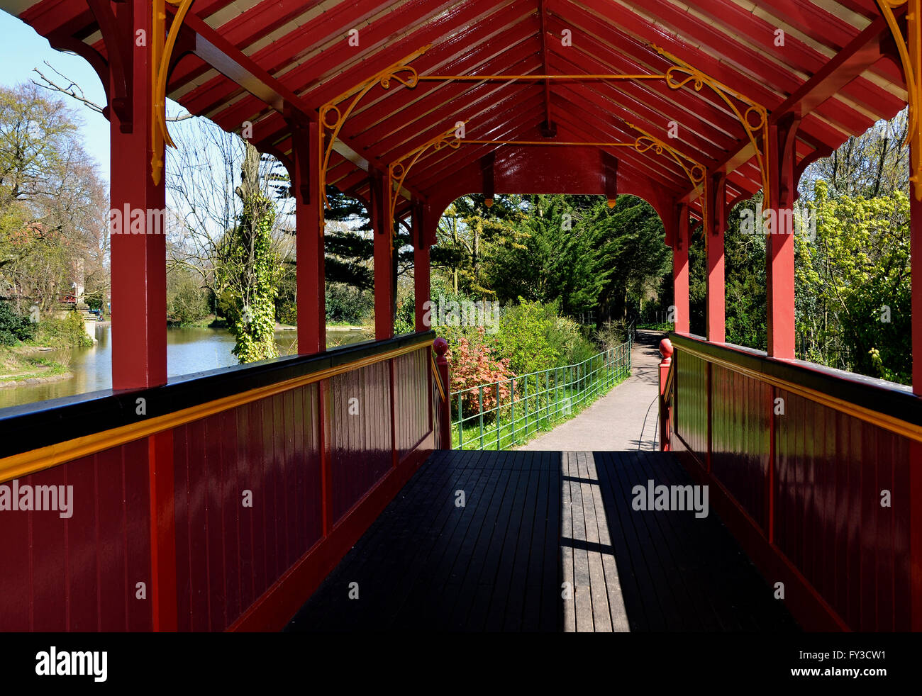 Interior of The Swiss Bridge in Birkenhead Park, Wirral, UK, a 23-foot pedestrian span of stringer construction - Stock Image