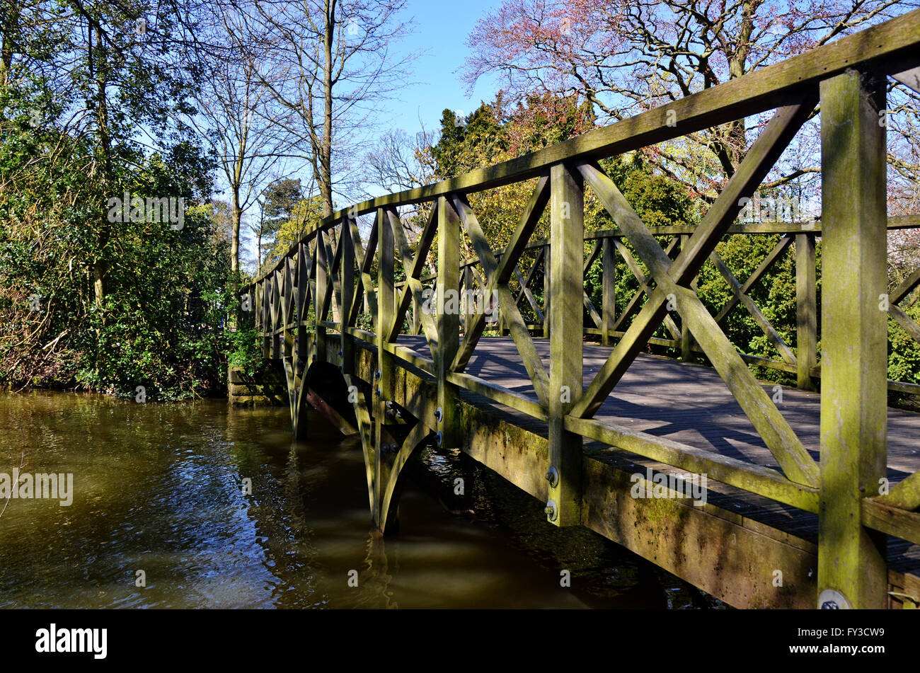 One of the many bridges in Birkenhead Park, Wirral. - Stock Image