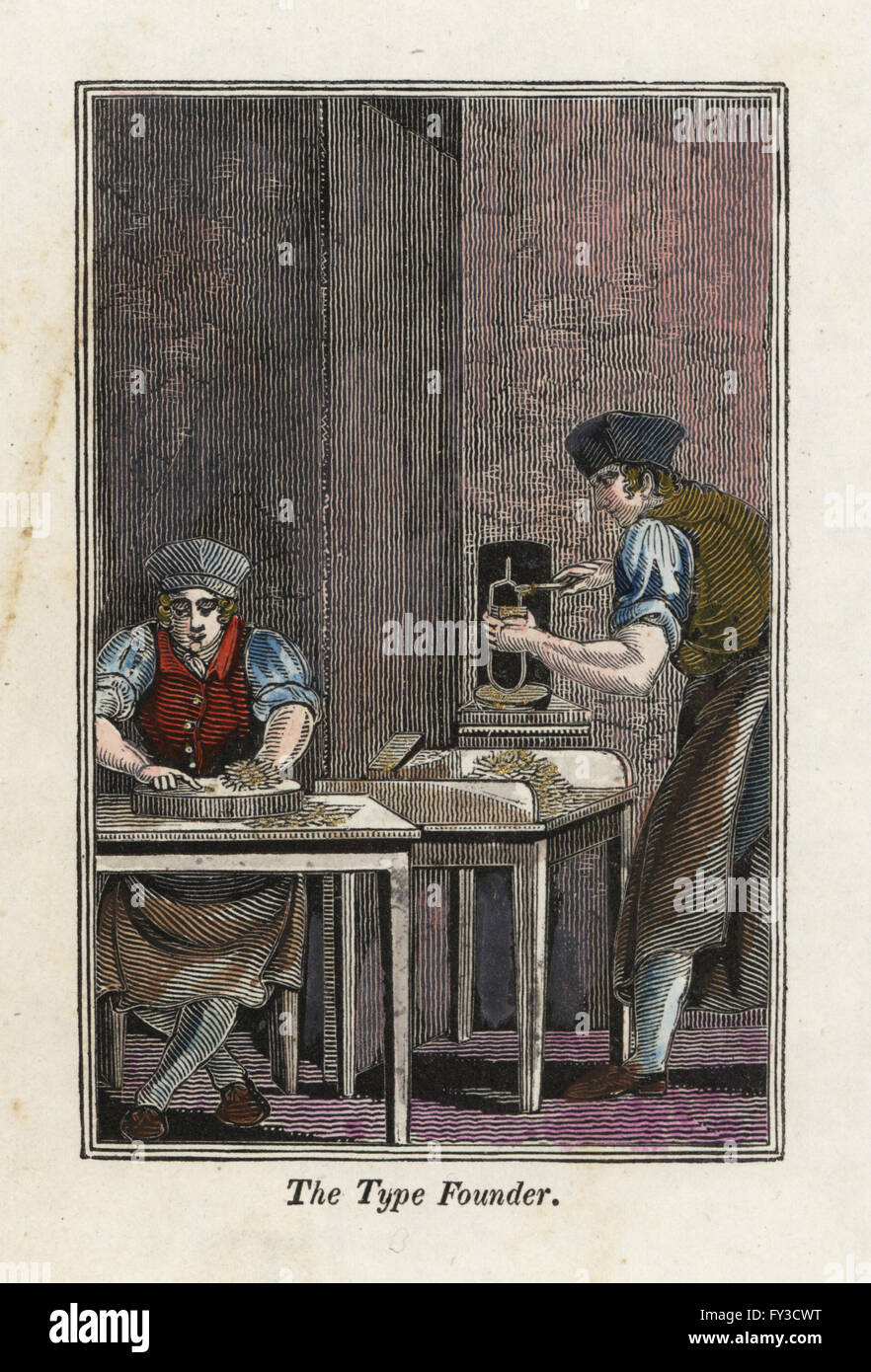 Type founders making metal type for a printing press near a furnace. Handcoloured woodcut engraving from The Book - Stock Image