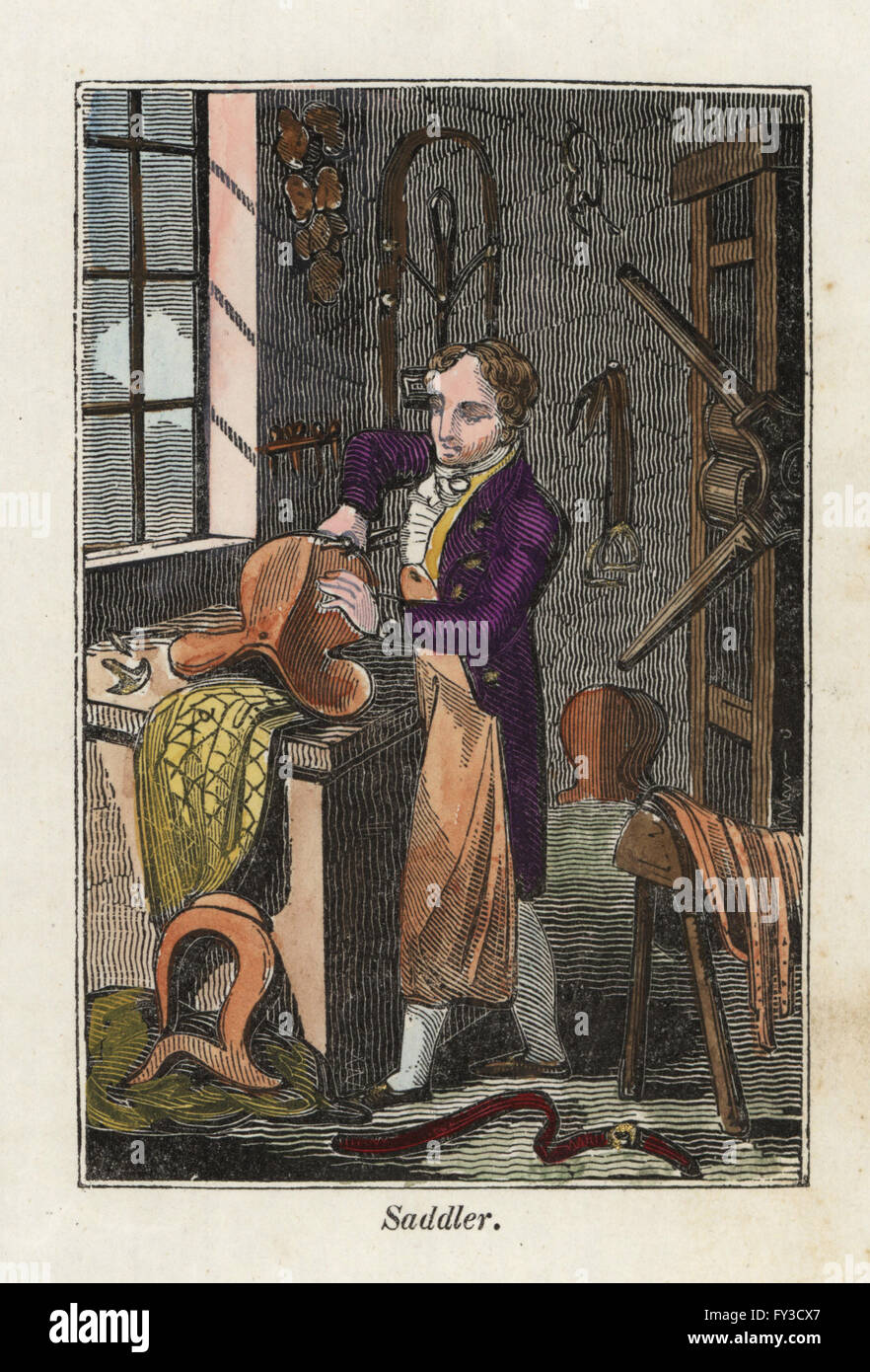 A saddler in leather apron making a saddle in his workshop. Handcoloured woodcut engraving from The Book of English - Stock Image