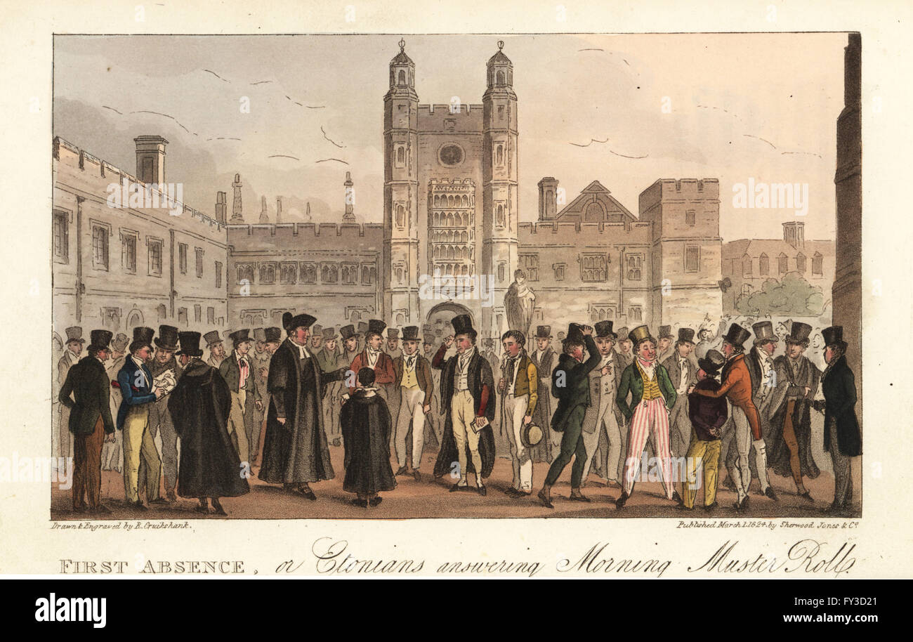 Muster roll call of boys at Eton Public School, Regency era. First Absence, or Etonians answering Morning Muster - Stock Image