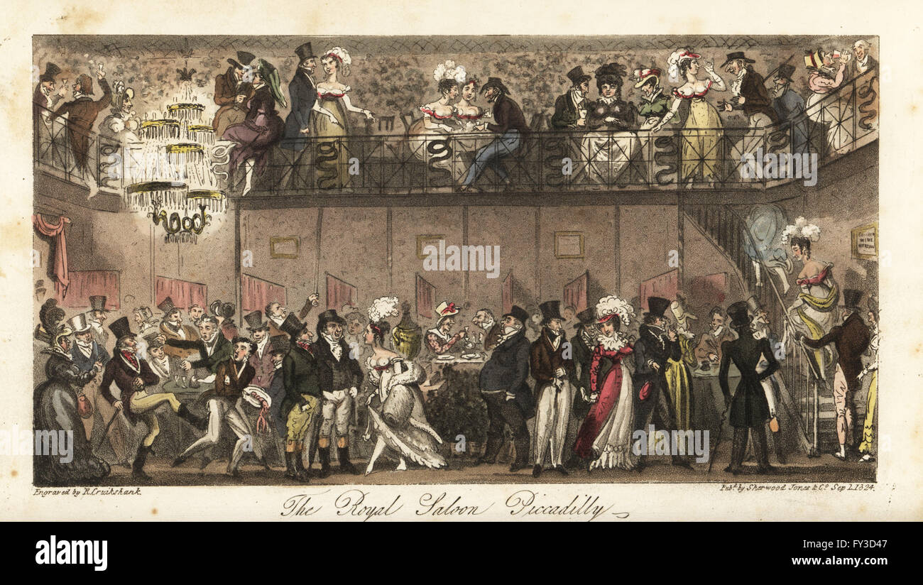 Regency fops, celebrities and Cyprians, including Mrs. Bertram or Bang, dining and drinking at the Royal Saloon, - Stock Image