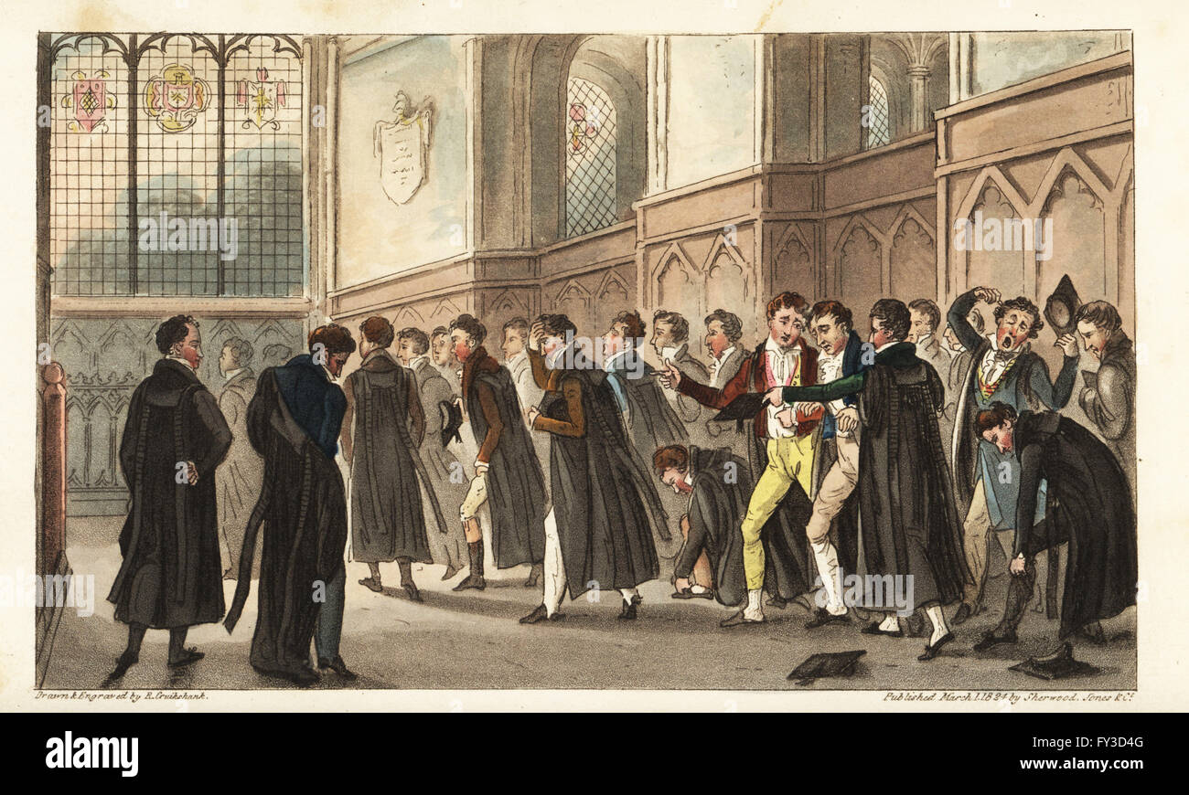 Hungover Oxford university students attending a religious service at 7AM. Black Matins or the Effect of Late Drinking - Stock Image