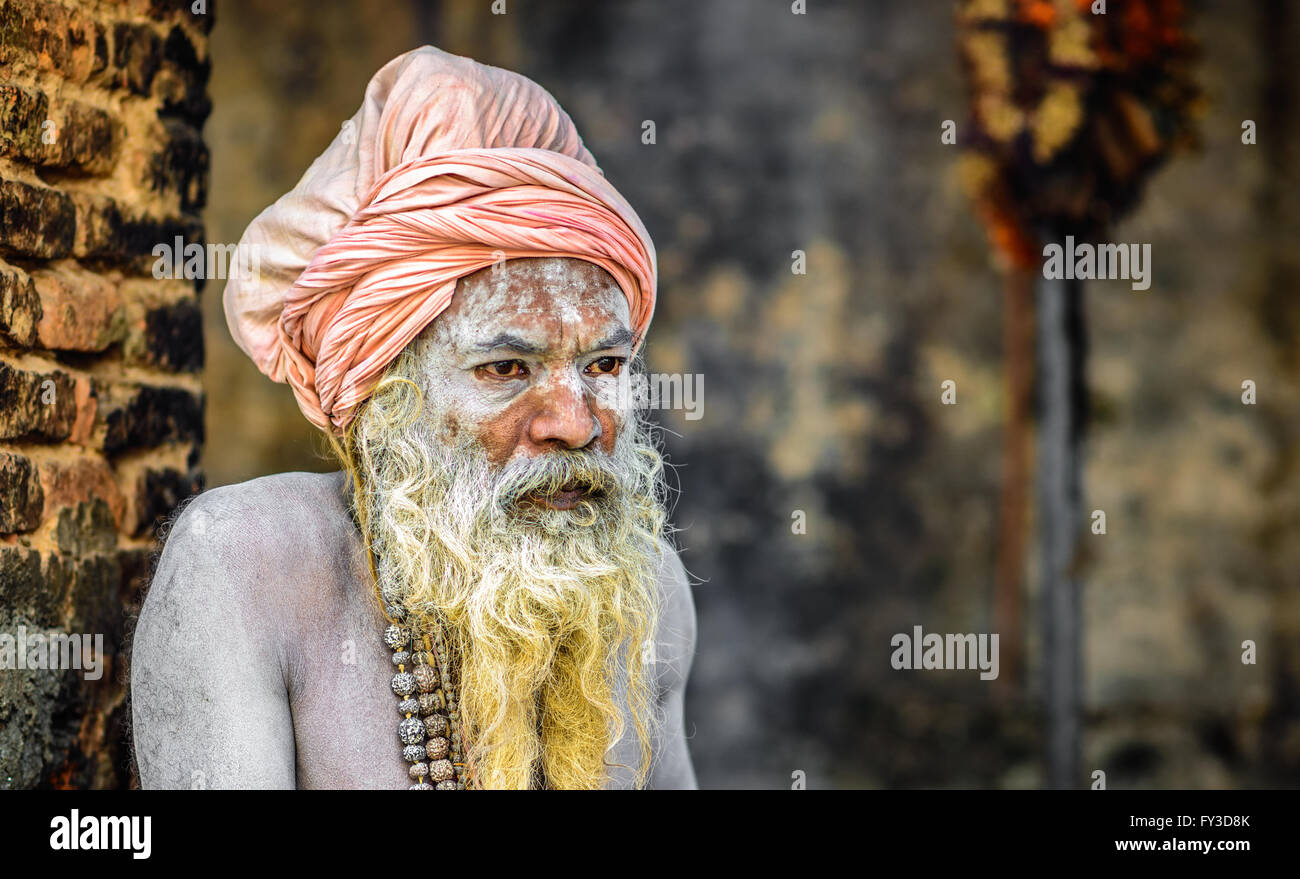 Portrait of Shaiva sadhu (holy man) with traditional long beard in Pashupatinath Temple - Stock Image