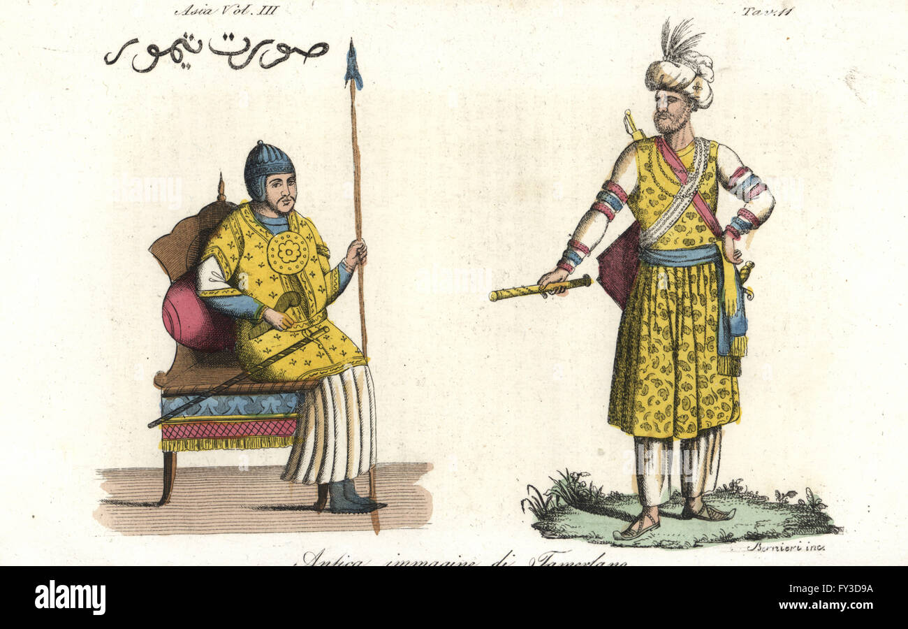 Ancient depictions of Tamerlane or Timur, Turco-Mongol conqueror. Handcoloured copperplate engraving by Andrea Bernieri - Stock Image