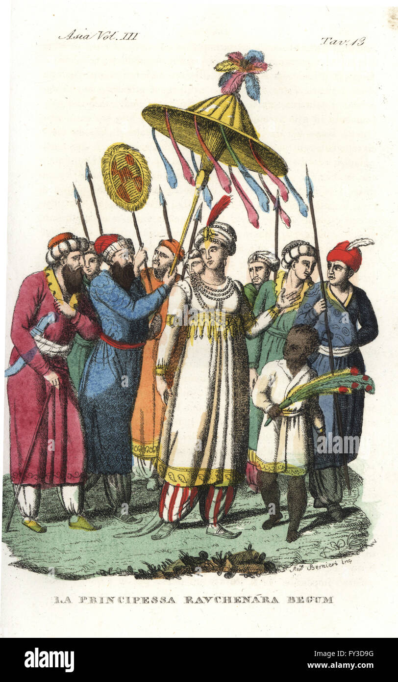 Moghul princess Ravchenara Begum on a walk with her entourage. A servant holds a large umbrella, a well dressed - Stock Image