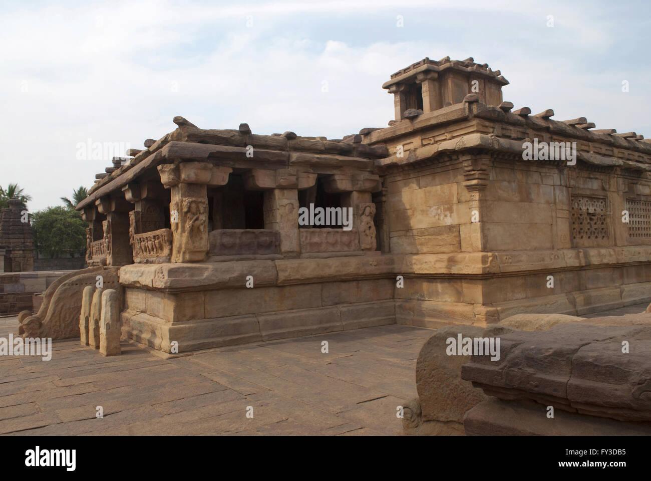Lad Khan temple, Aihole, Bagalkot, Karnataka, India. Kontigudi group of temples. This is the oldest temple of Aihole. - Stock Image