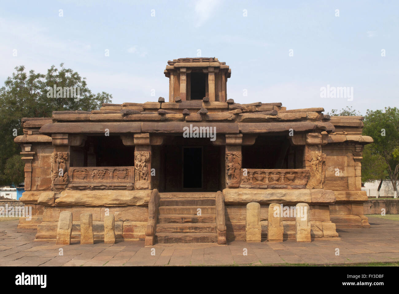 Front view of Lad Khan temple, Aihole, Bagalkot, Karnataka, India. Kontigudi group of temples. This is the oldest - Stock Image