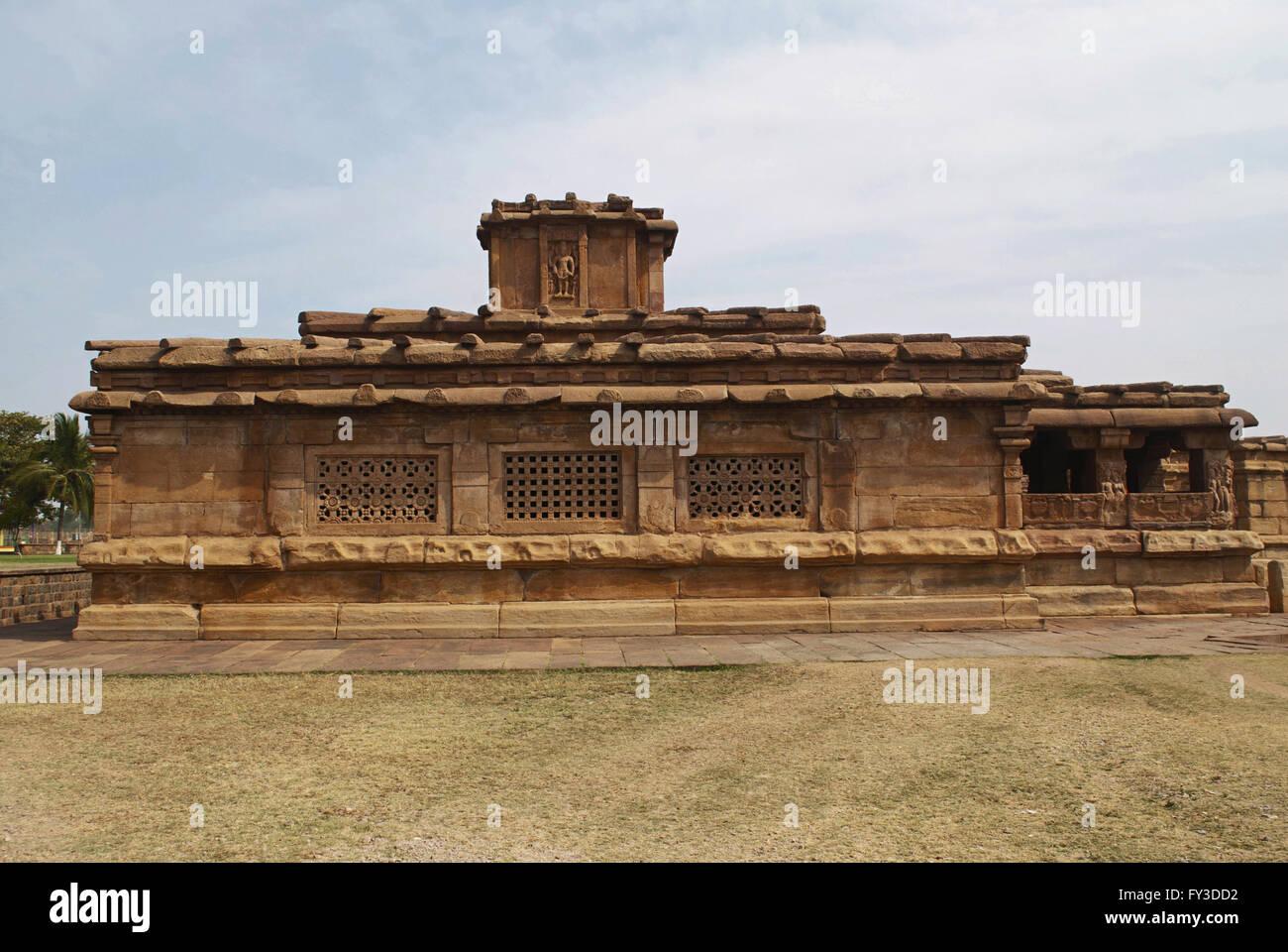 View of Lad Khan temple, Aihole, Bagalkot, Karnataka, India. Kontigudi group of temples. Large windows seen has - Stock Image
