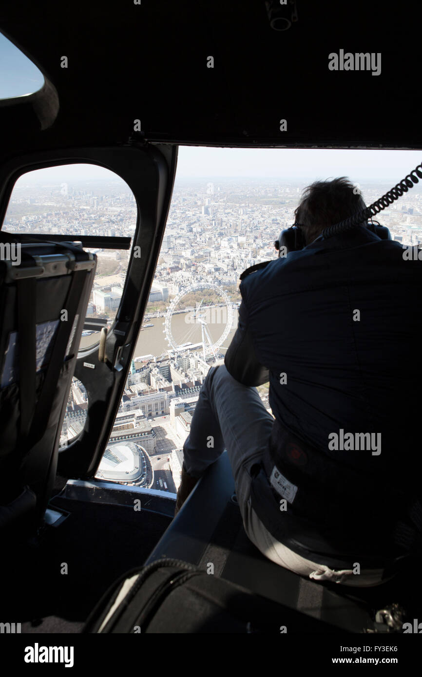 Helicopter over London view from Cockpit and through open door - Stock Image