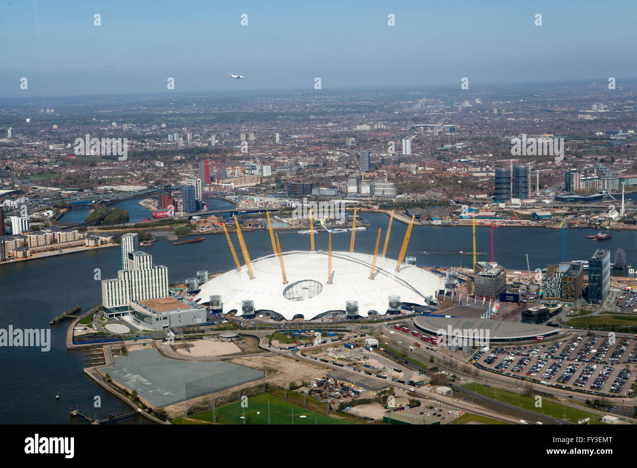 Aerial Shots of o2 Arena from Helicopter - Stock Image