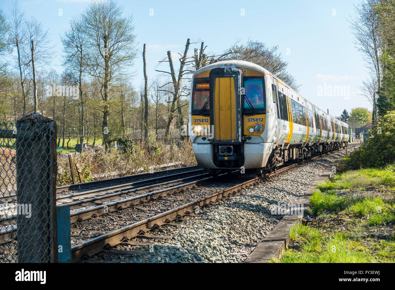 British Rail Fast Passenger Train SouthEastern Kent - Stock Image