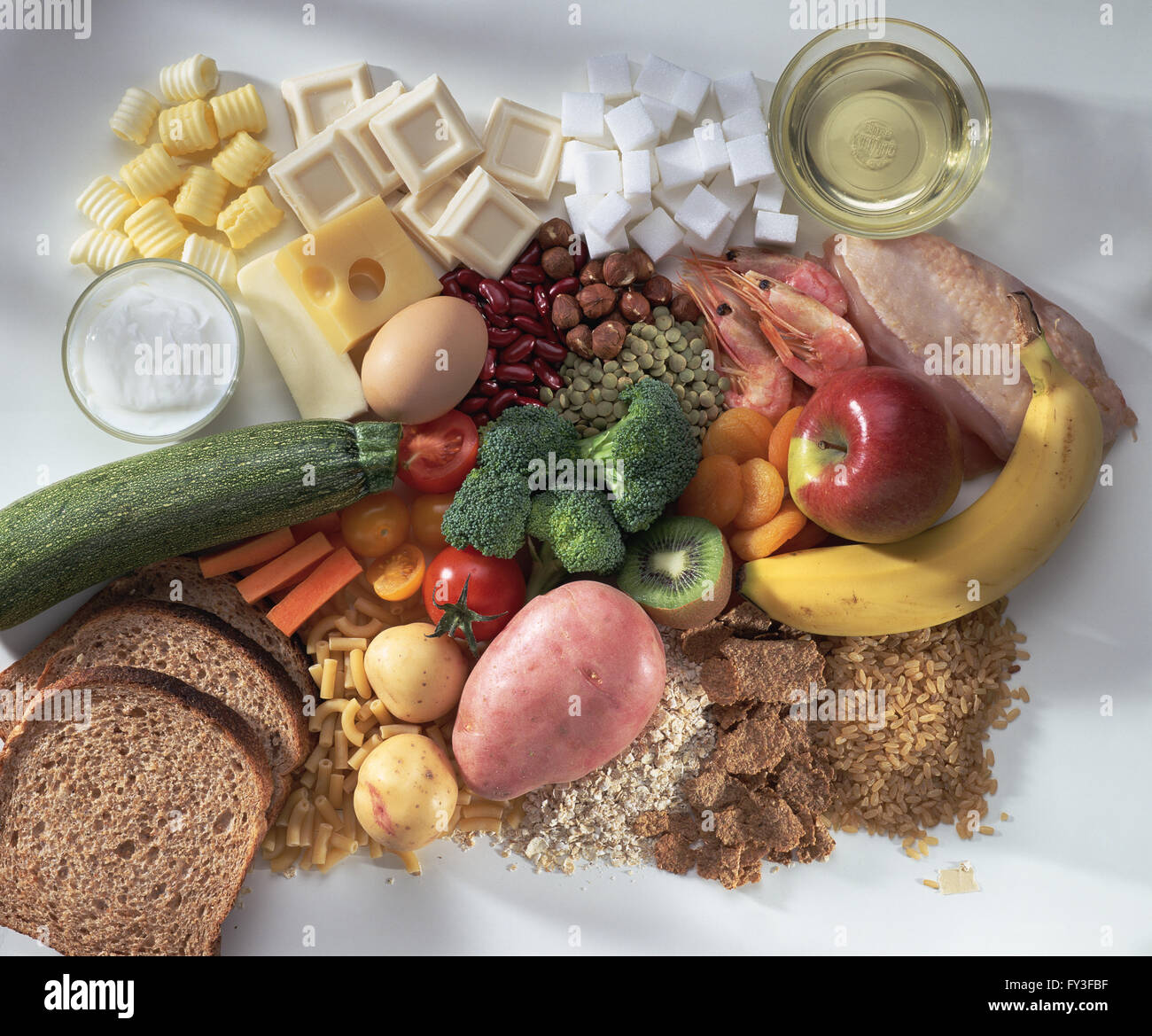 Bread cereal rice pasta fruit vegetables meat fish for Fish and rice diet