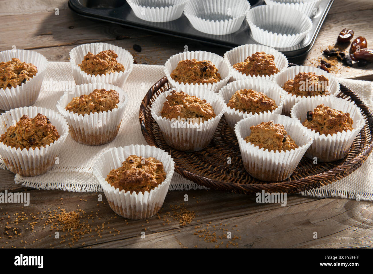 Sucanat oat muffins - Stock Image