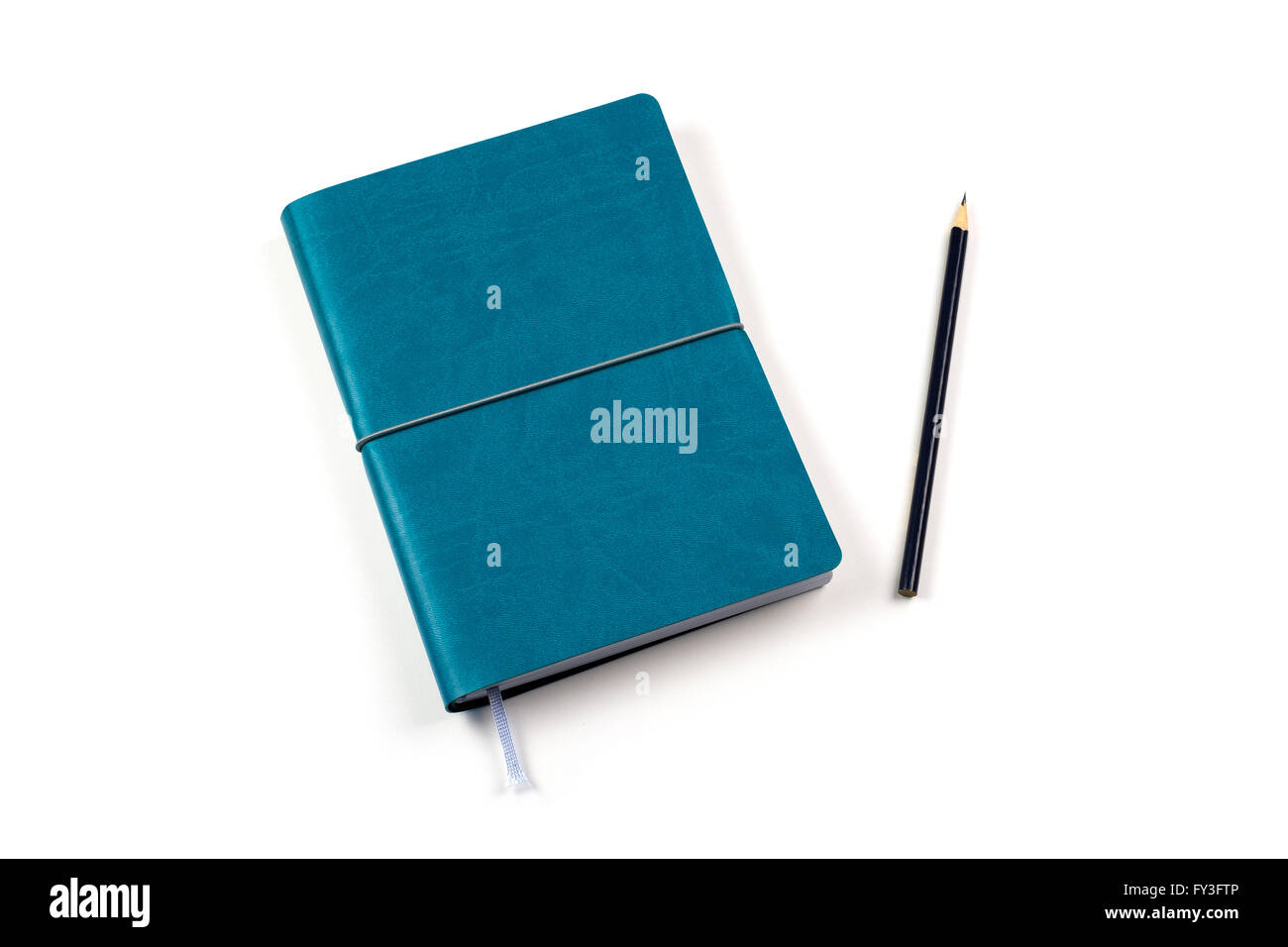 blue diary with pencil on white background - Stock Image