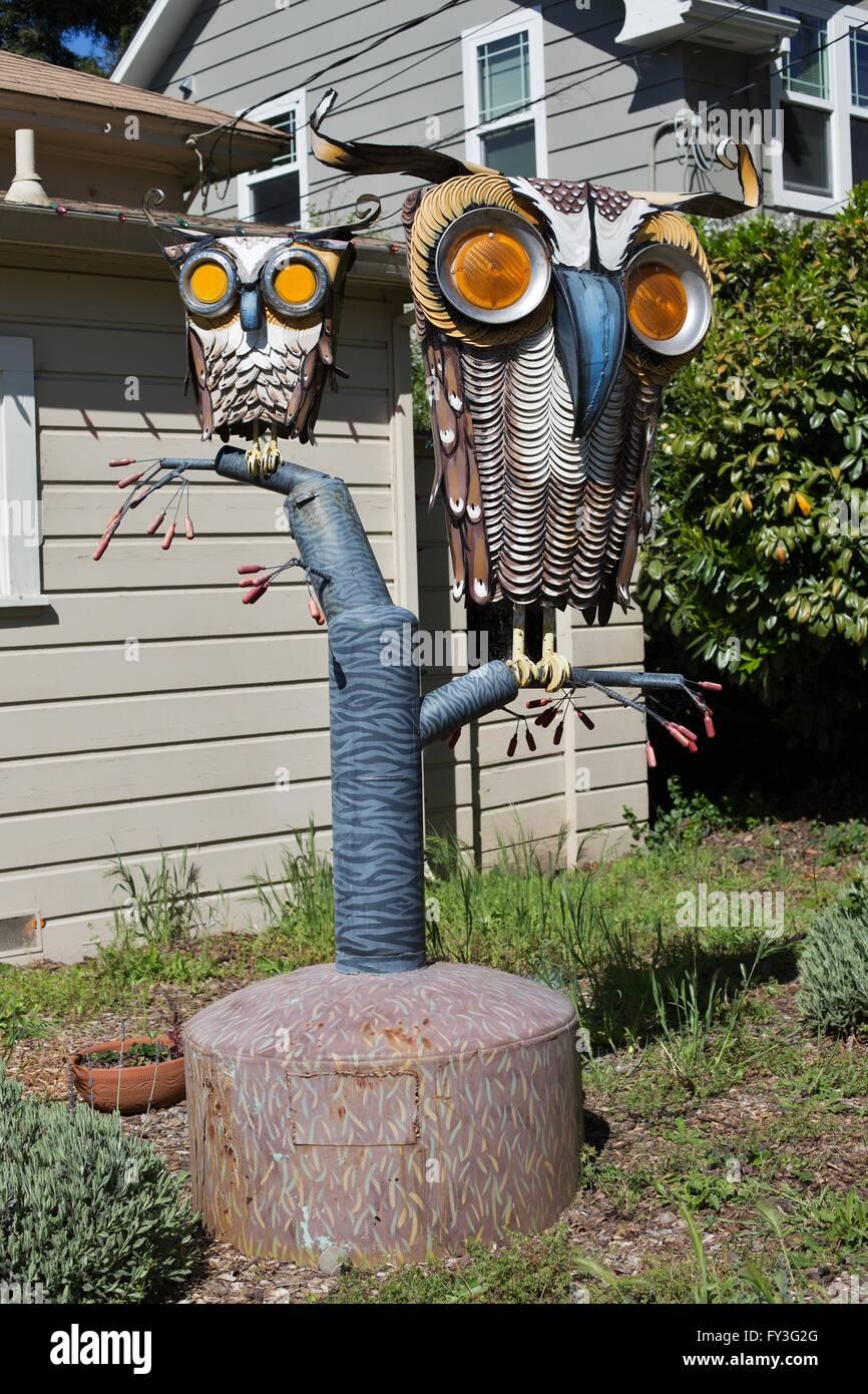 A sculpture by junk artist Patrick Amiot, in Sebastopol, California, USA. - Stock Image
