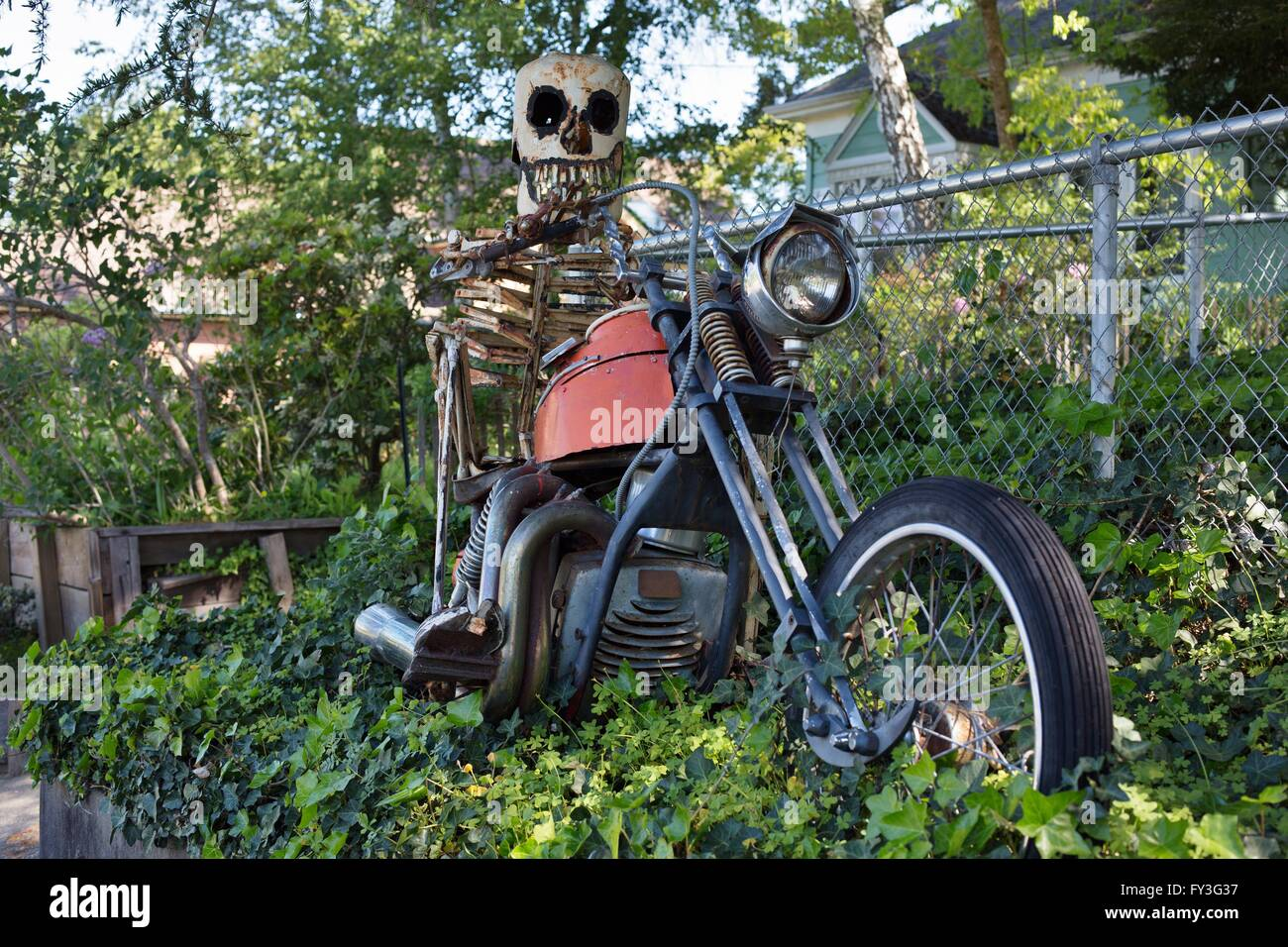 A sculpture by junk artist Patrick Amiot, in Sebastopol, California, USA. - Stock Image
