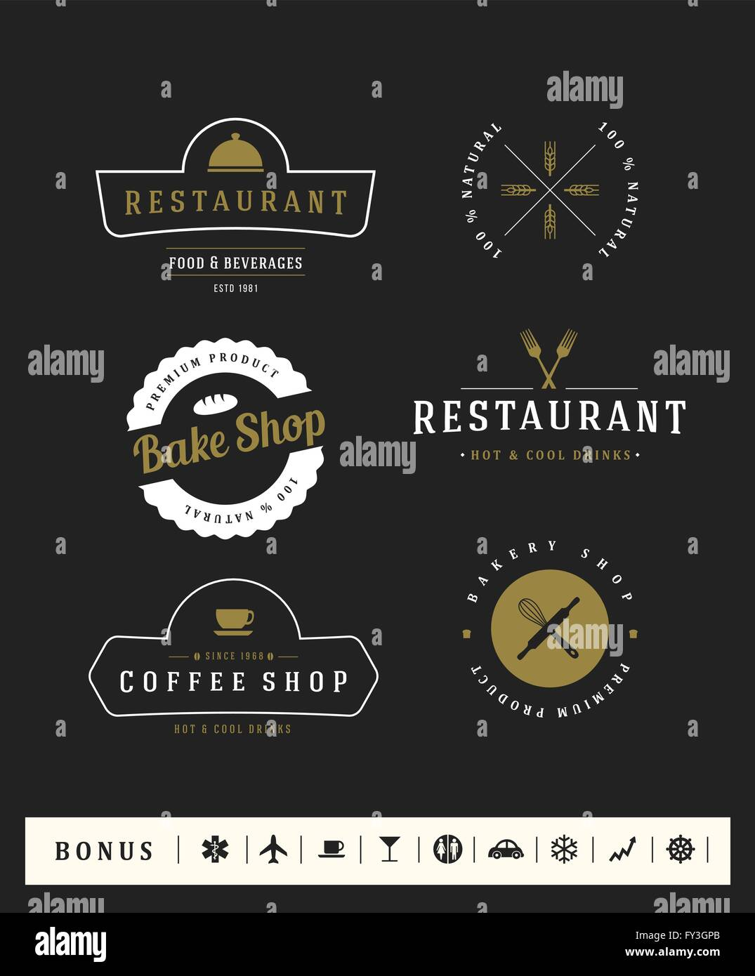 Logotypes set. Vector elements, business signs, logos, identity, labels, badges and objects. - Stock Vector