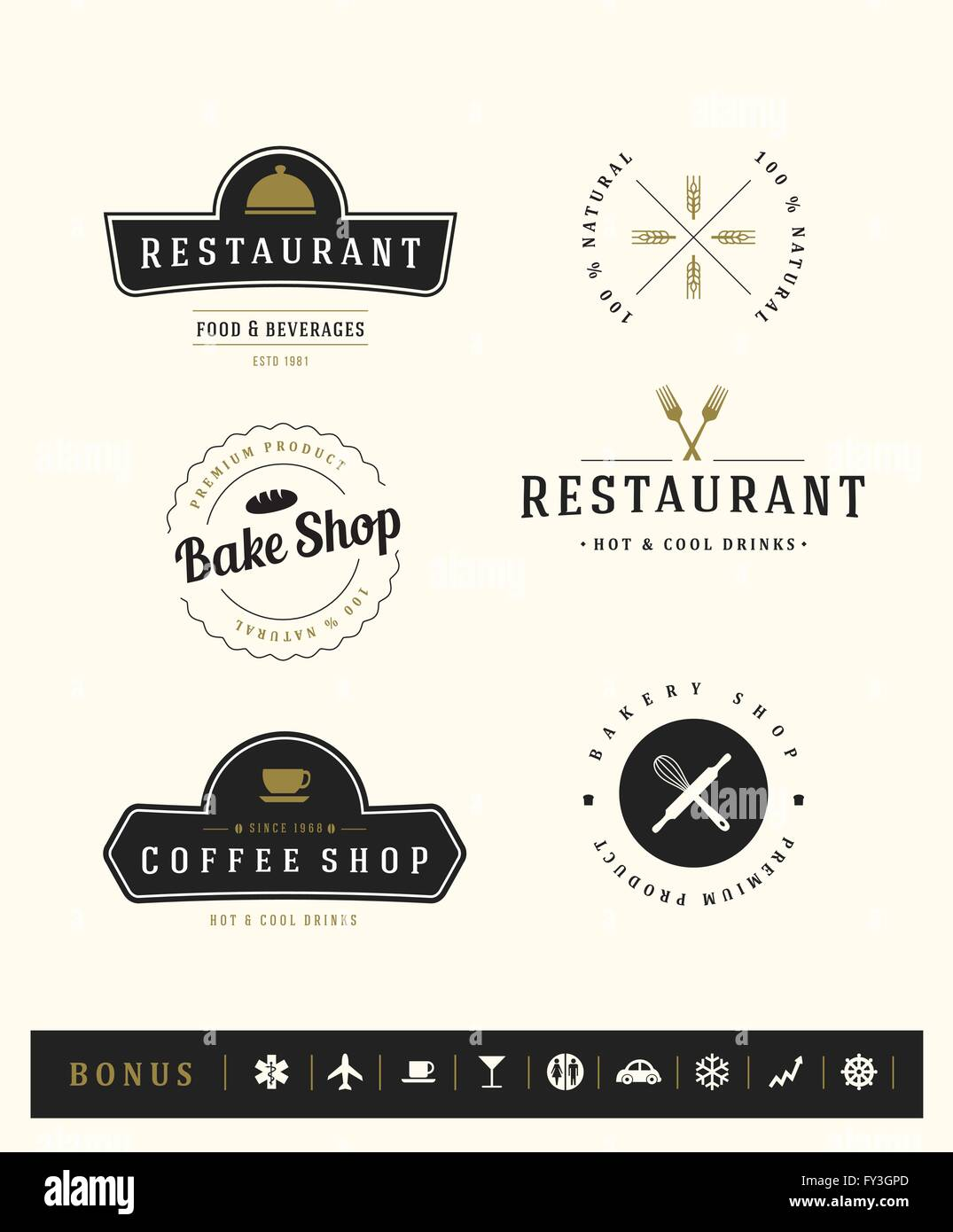 Logotypes set. Vector elements, business signs, logos, identity, labels, badges and objects. - Stock Image