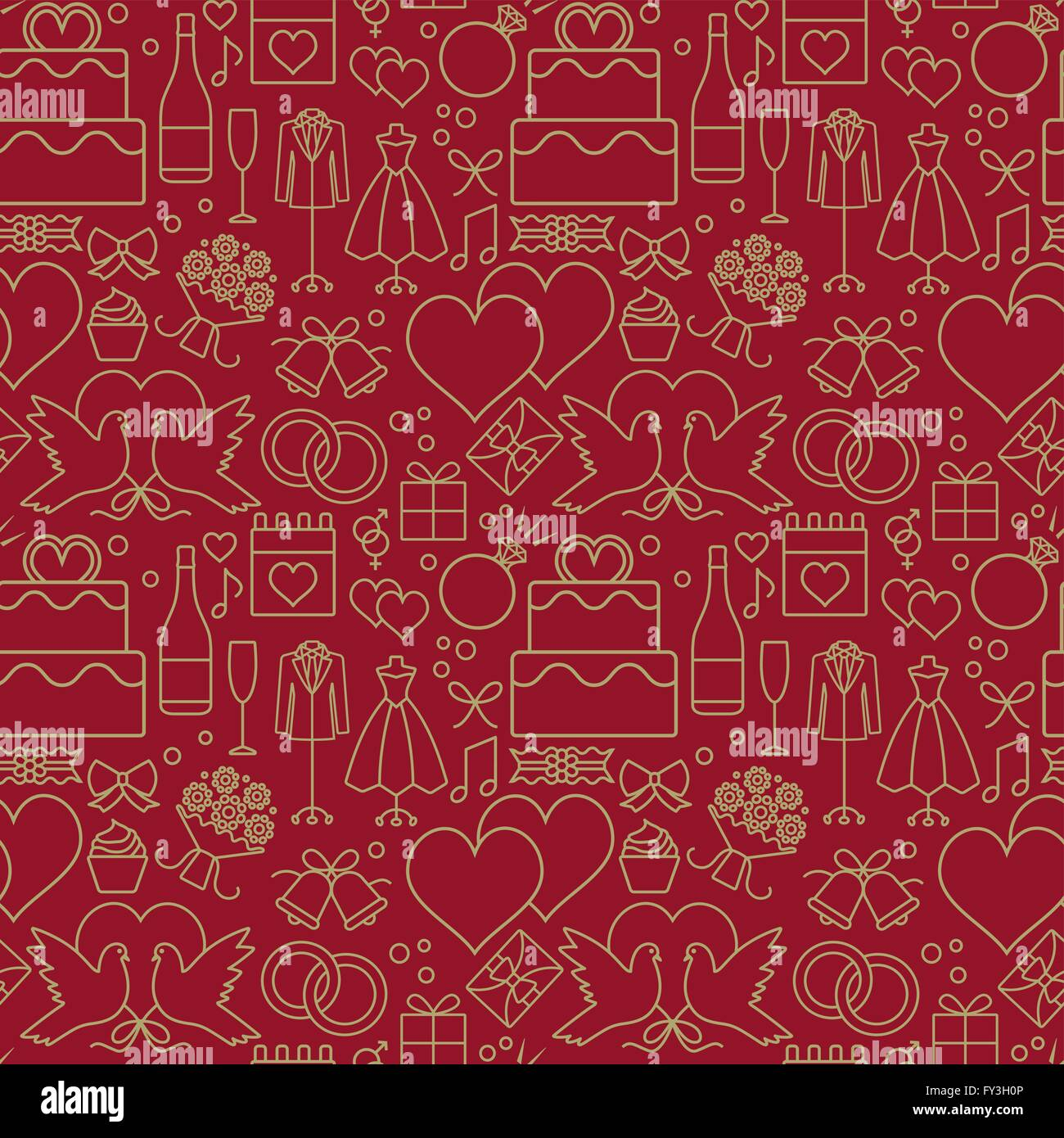 Gold And Red Wedding Themed Vector Seamless Pattern Background 2