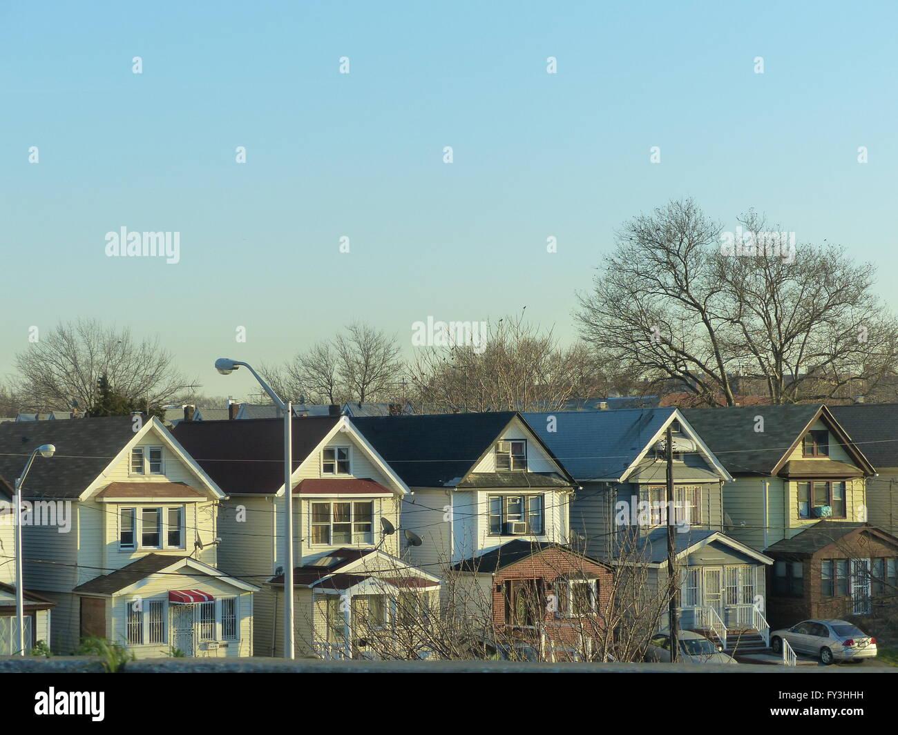 New York City, Queens, row of look alike houses - Stock Image