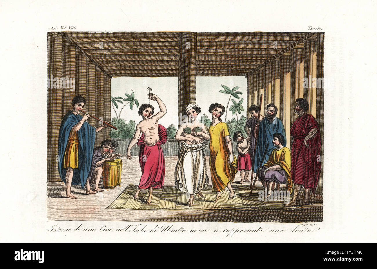 Women dancing the heiva or hula dance to drum and pipe music in a house on Raiatea island, Society Islands. Handcoloured Stock Photo