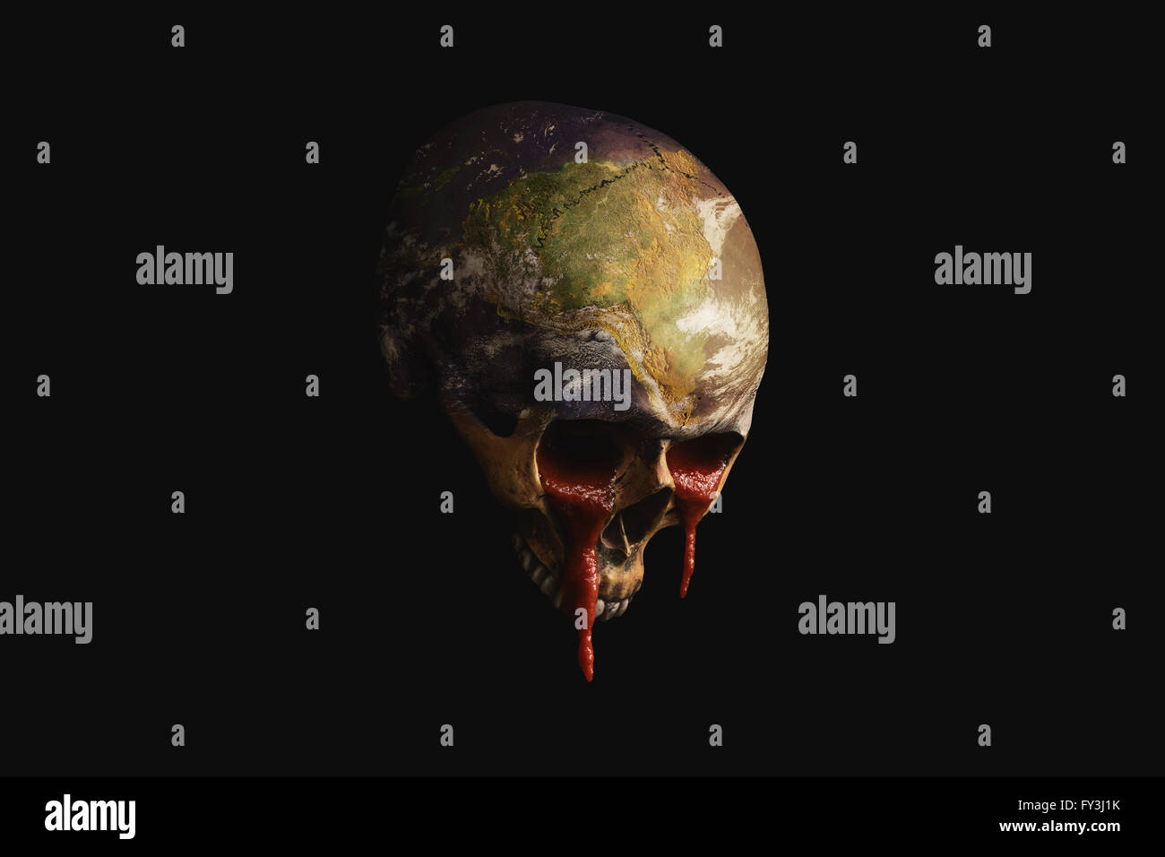 dying Earth running blood out of the nose - Stock Image