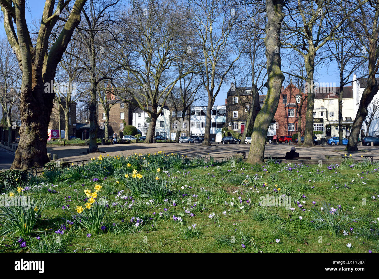 Pond Square with Spring flowers, Highgate Village London England Britain UK Stock Photo