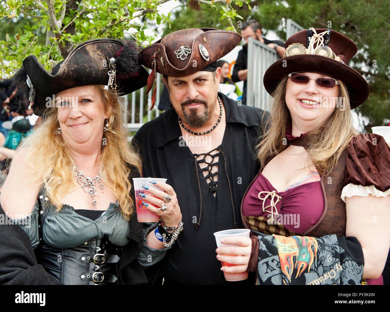 Participants dressed as pirates at the Las Vegas Pirate Fest  at Lorenzi Park April 8-9-10, 2016 - Stock Image