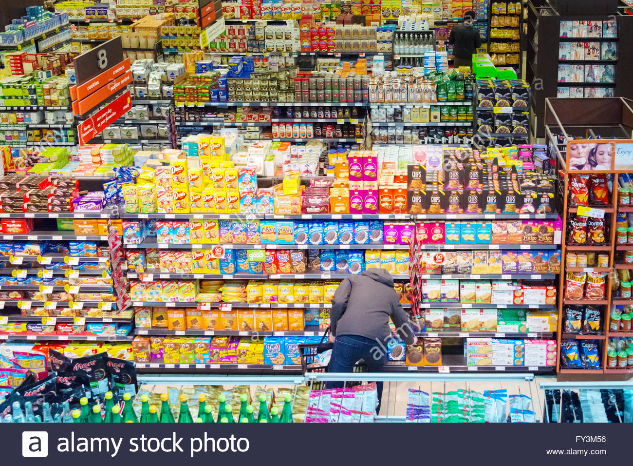cbd9276906e Toronto, Canada, one person choosing food products from the grocery ...