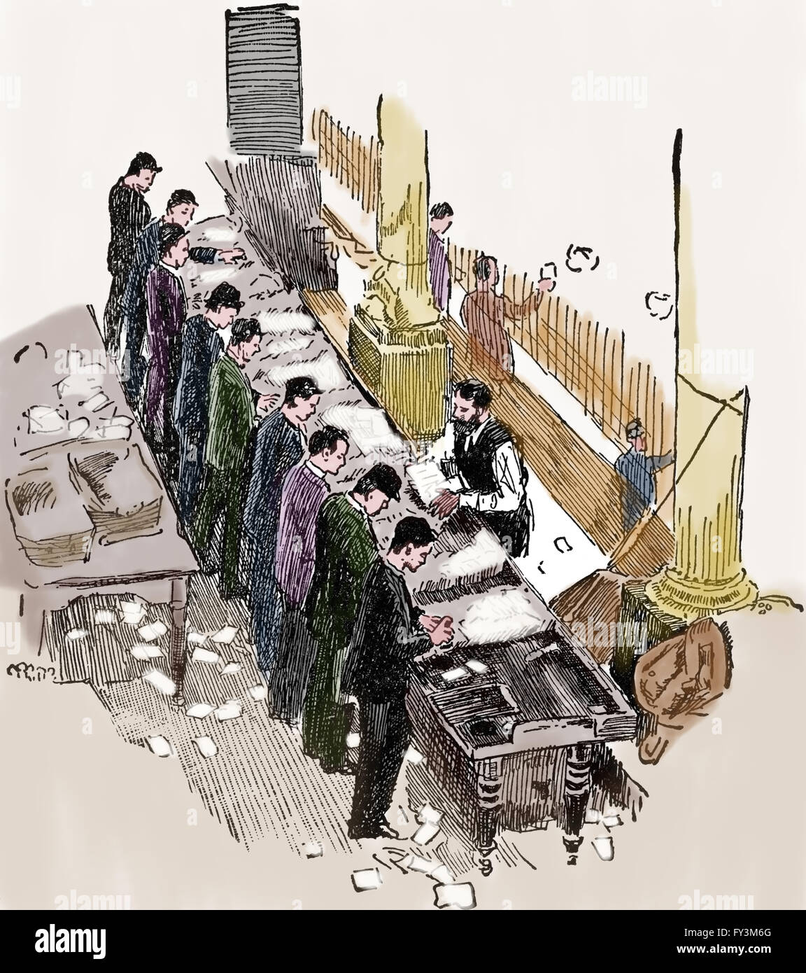 Stamping table in a Post Office. Engraving. Color. 19th century. - Stock Image