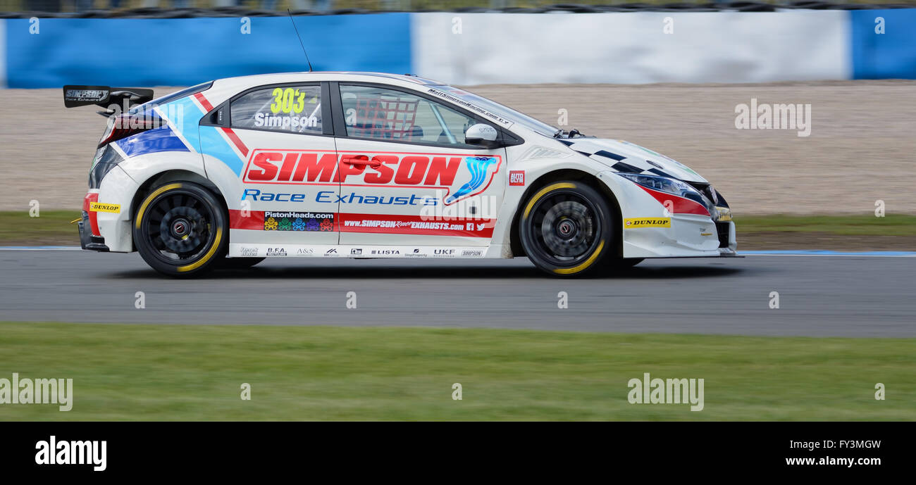 Matt Simpson Dunlop MSA British Touring Car Championship, Donington Park 2016 - Stock Image
