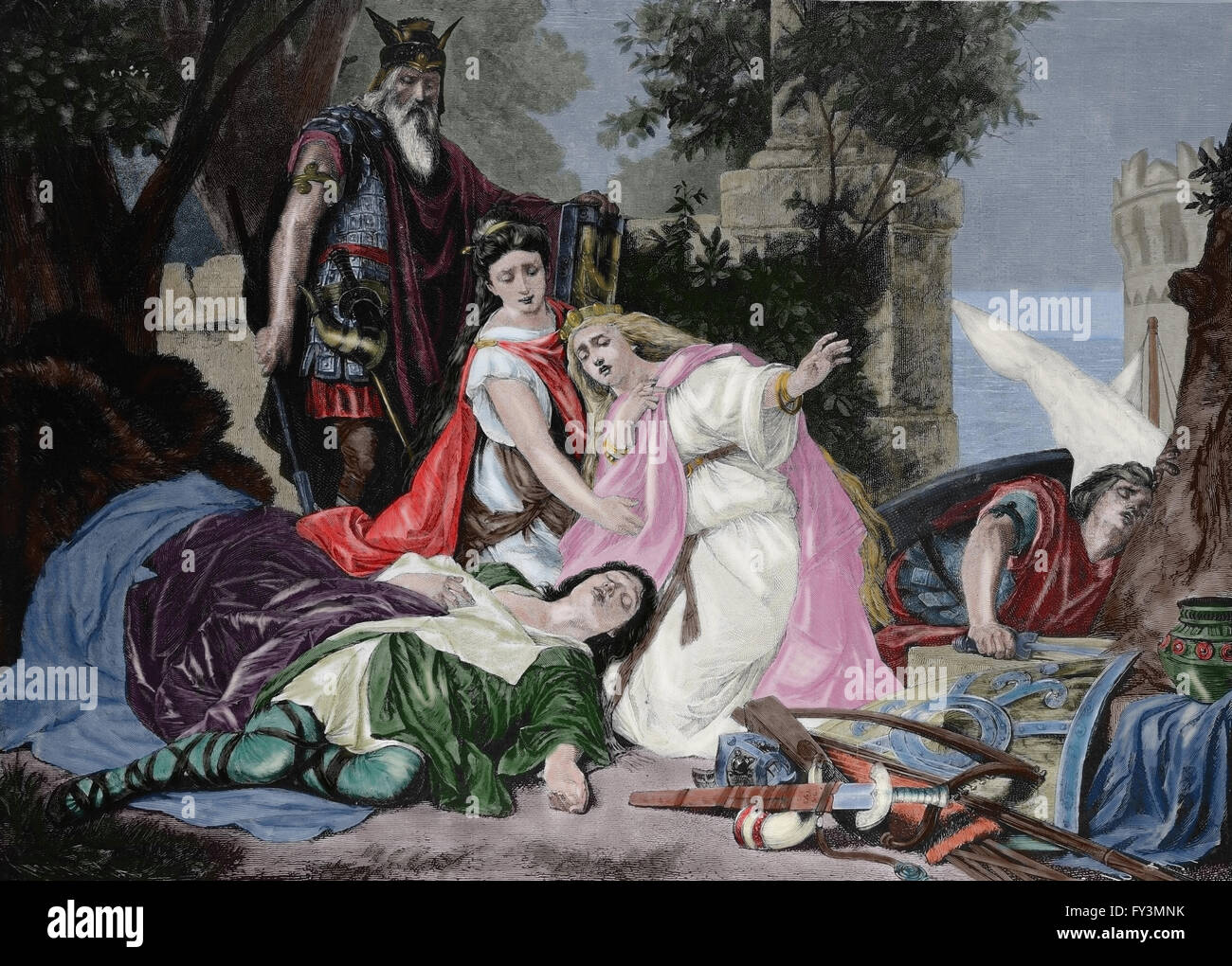 The Death of Tristan. German composer Richard Wagner 1813-1883. 'Tristan and Isolde'. Engraving, c. 1890. - Stock Image