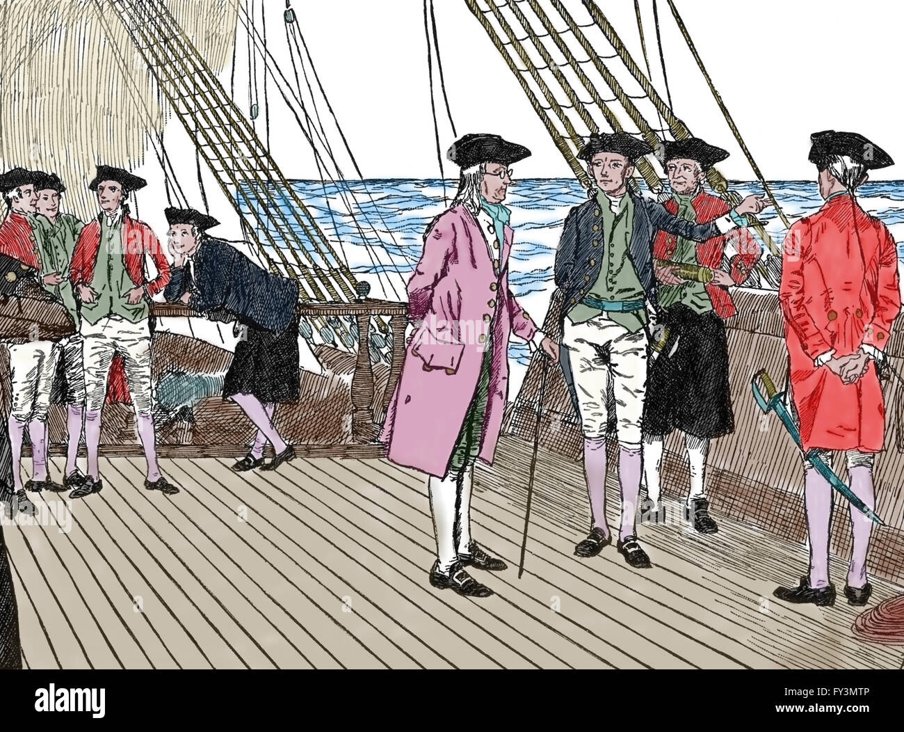Travel to France of Benjamin Franklin (1706-1790). Engraving. Colored. 19th century. Stock Photo