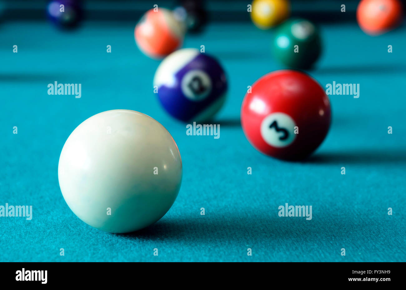 Balls on pool table - Stock Image