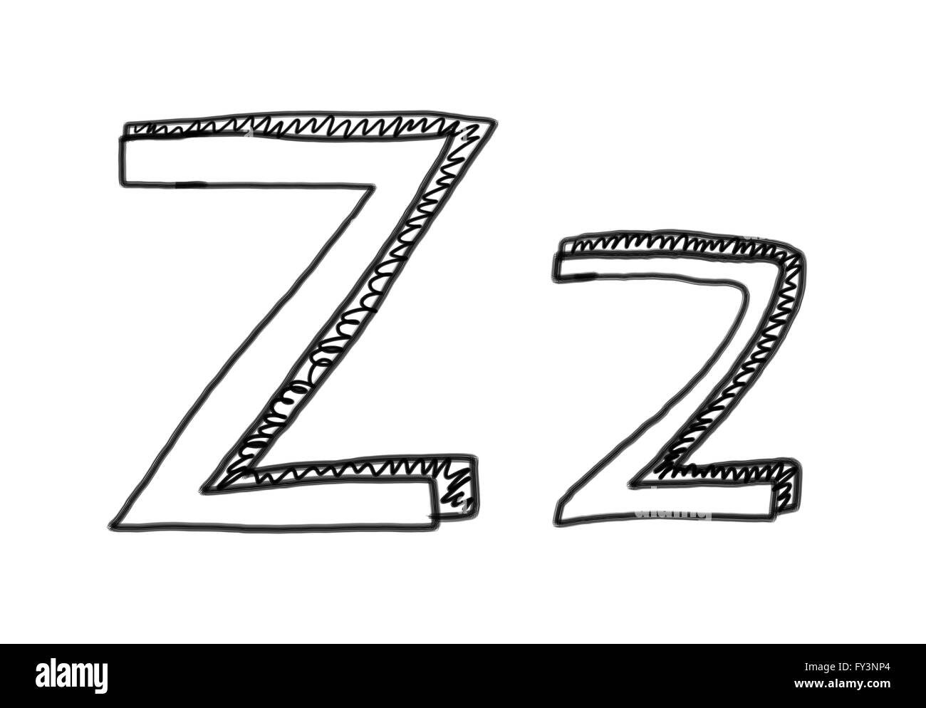 New drawing Character Z of alphabet logo icon in design