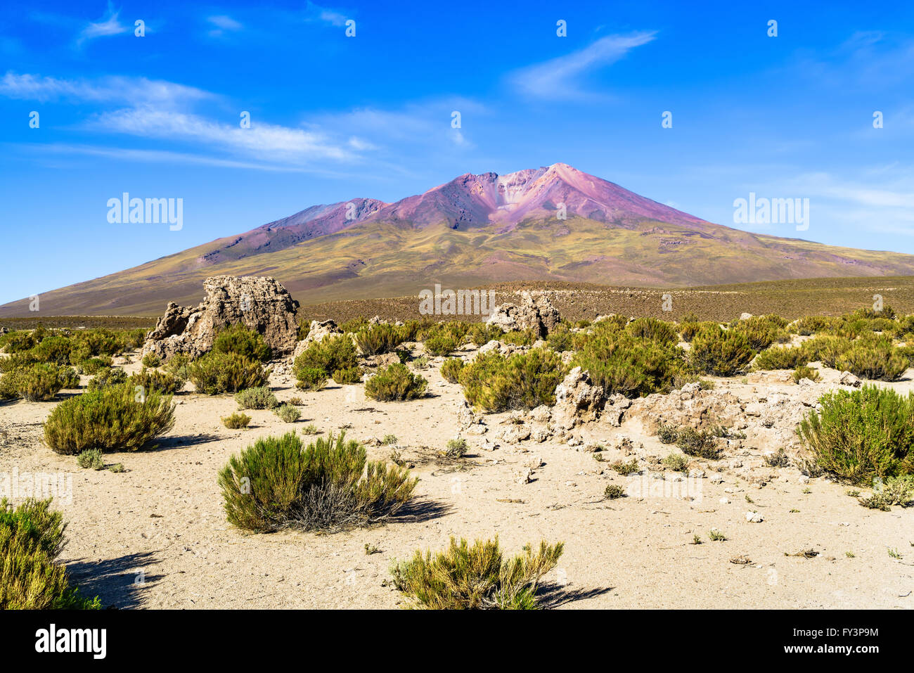 Mountain and desert in The National Park, Uyuni, Bolivia - Stock Image